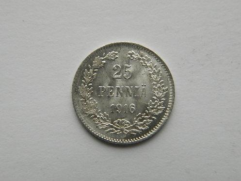 25 пенни, 1916 г. Николай II, S, Ag