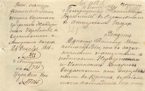 Документ напоиск лица сзагр. паспортом выданным загр. консульством, 1916 г., РИ.