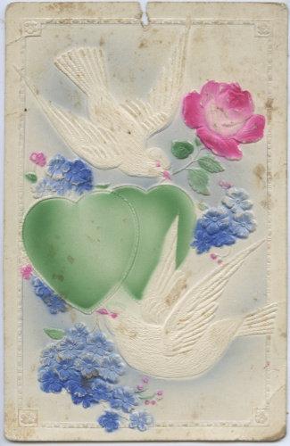 Карточка почтовая с тиснением «Голуби», 1927 г., Финляндия