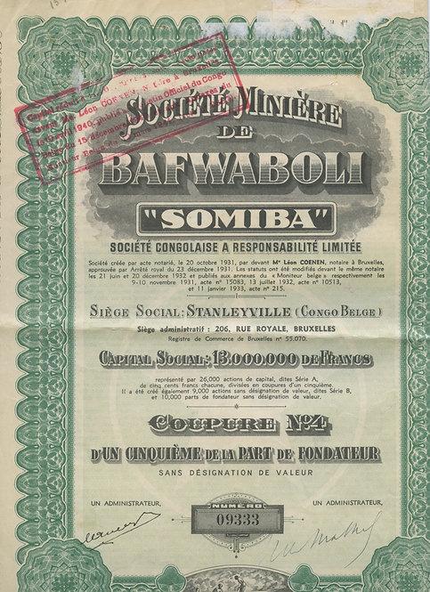 13 миллионов франков (акция «Societe Miniere de Bafwaboli», с сертиф. 1950 г.)