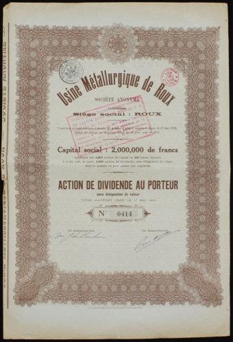 Акция акционерного общества «Usine Metallurgique de Roux». 1919 г.