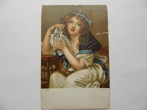 """Почтовая карточка """"Дама с голубями"""", Европа"""