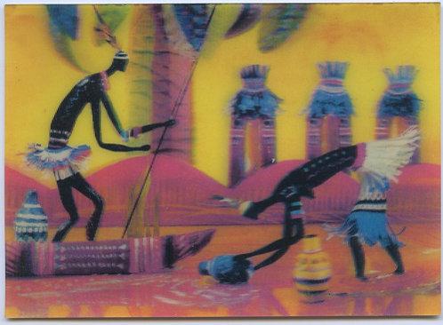Переливная стерео-открытка «Встреча у реки», тираж 150000 экз., 1986 г. СССР.