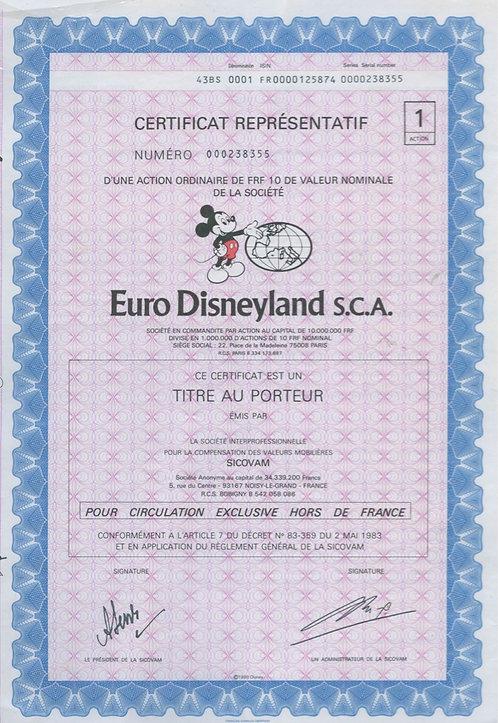 Сертификат акций («Euro Disneyland S.C.A.»), 1983 г., Франция