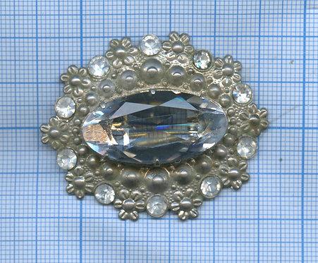 Брошь, 5 см. прозрачный камень