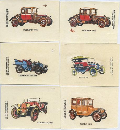 Лот переводных картинок «Автомобили», 12 шт., СССР