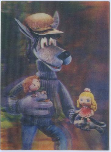Переливная стерео-открытка «Волк и Дюймовочка», тираж 300000 экз., 1986 г. СССР.