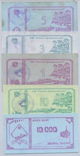 Чеки  ОТЗ, хозрасчеты, 1998 г. набор 5 шт. Разновид №3
