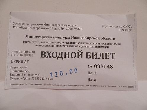 Билет в художественный музей г. Новосибирска