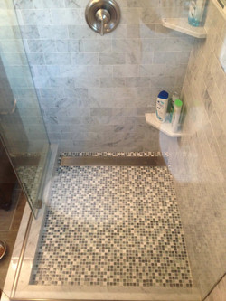 Marble and glass mosaic bathroom