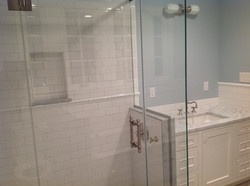 Subway tile with marble