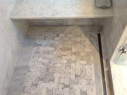 marble shower, linear drain