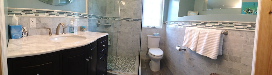 Babylon Contractor| marble and glass mosaic bathroom
