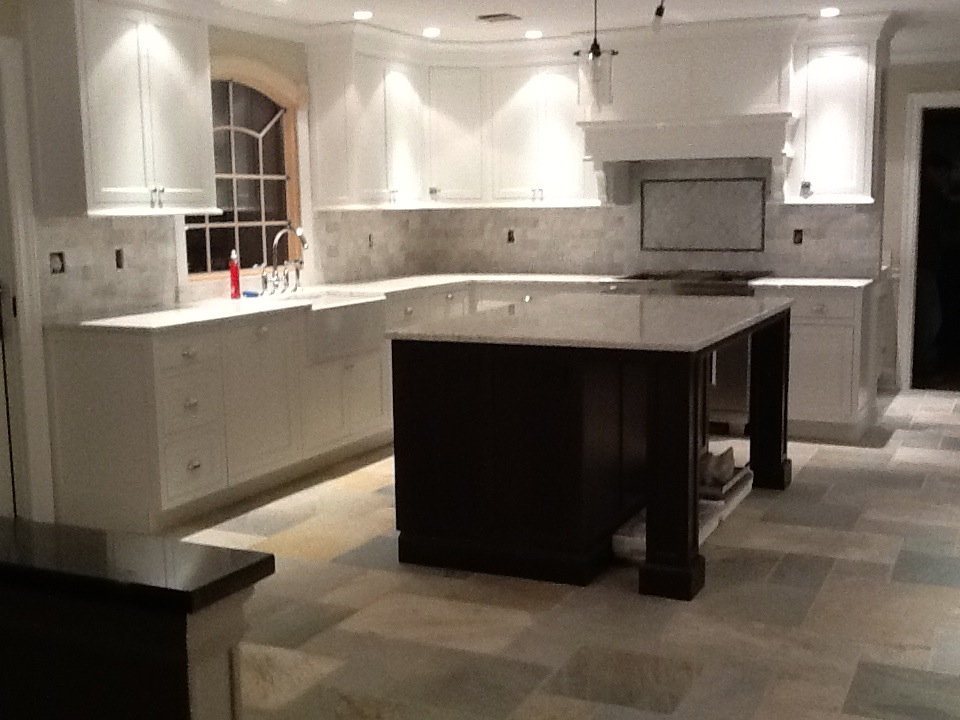 Kitchen with large slate and radiant