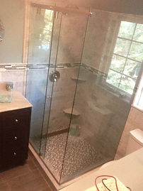 babylon bathroom,linear drain,glass mosaic