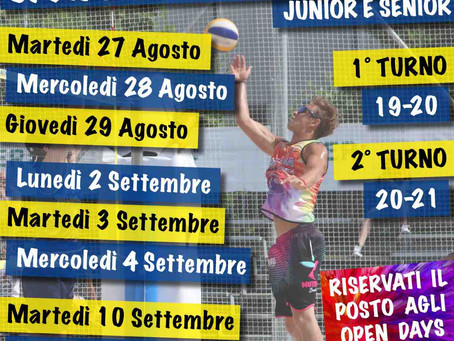 Open Days Beach Volley Junior e Senior Estate 2019