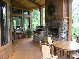 Beautiful Covered Deck with Fireplace