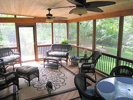 screened porch overlooking beautiful yard