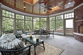 Beautiful Screened Porch with high ceiling and Fireplace