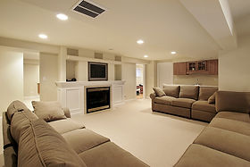 Remodeled Basement with TV and Fireplace