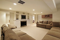 beautiful finished basement adding extra living space to a home.