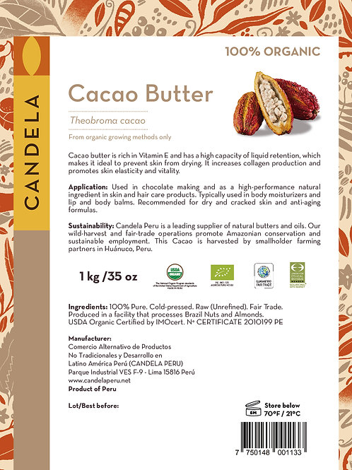 1 kg (2.2 lb) Organic Cacao Butter. (Raw / Unrefined). Food grade.