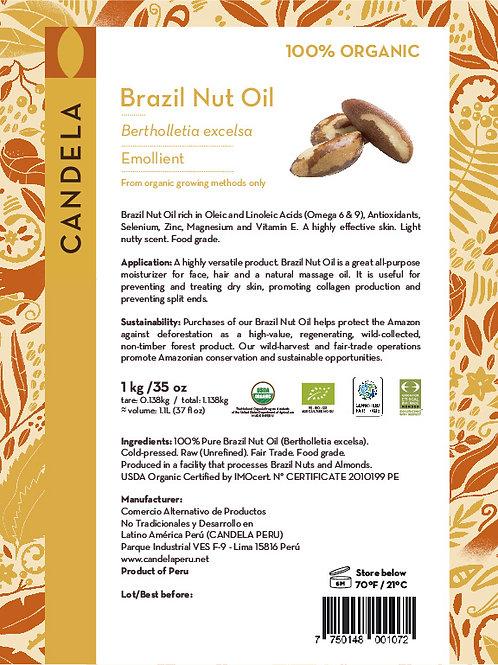 1 kg Organic Brazil Nut Oil (1.1 litres / 37 fl oz)