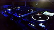 Dj aound system featuring CDJs and pioneers mixers