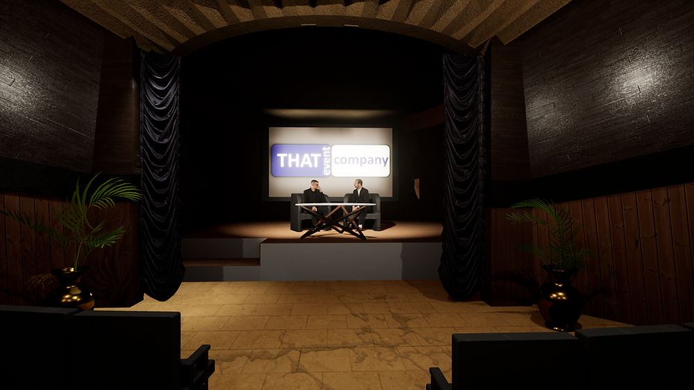 Virtual event production, 2 speakers on stage with presentation