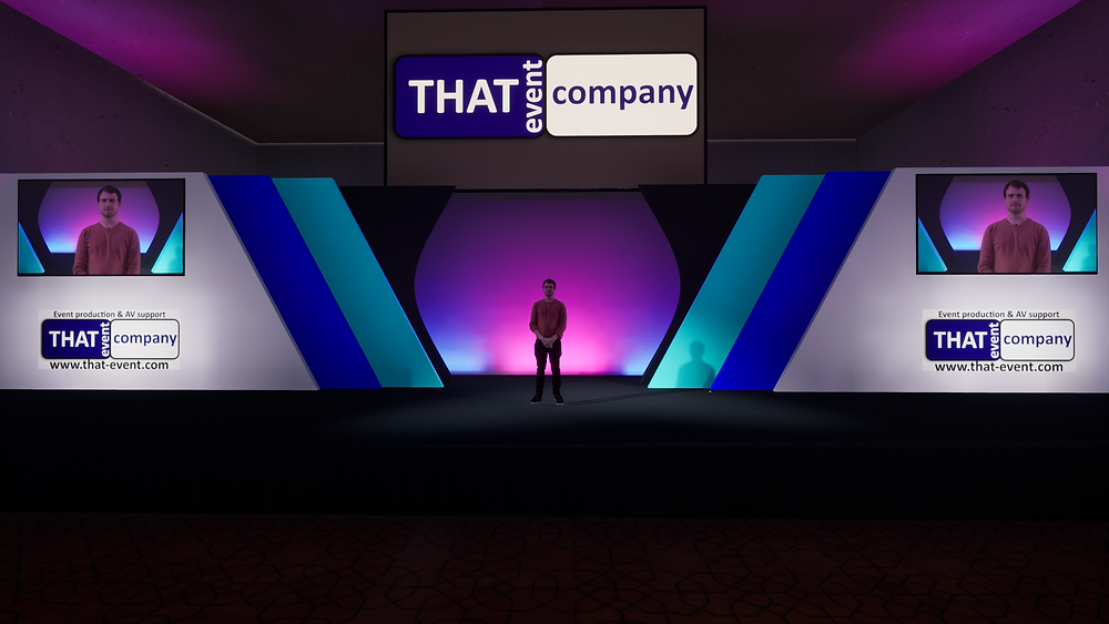 Virtual conference set and stage for virtual event
