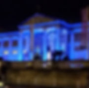 AShmolean exterior lit up with hired lighting