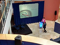 A draped projection screen at a presentaion in Oxford