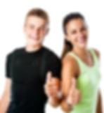 Close up portrait of active teen couple