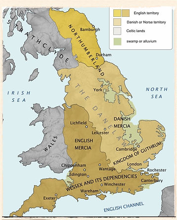 Map of England in late 9th century