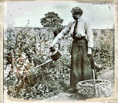 Victorian lady watering garden