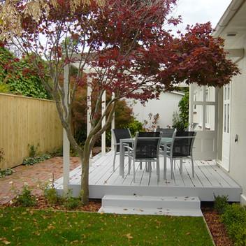 villa deck and brickwork