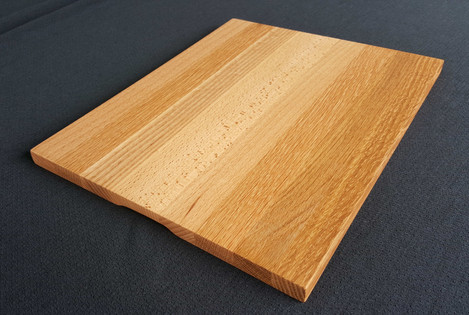 This platter highlights the interesting grain patterns of Oak, Ash and Elm. Size 335L x 262W x 16 (mm) Currently available $130