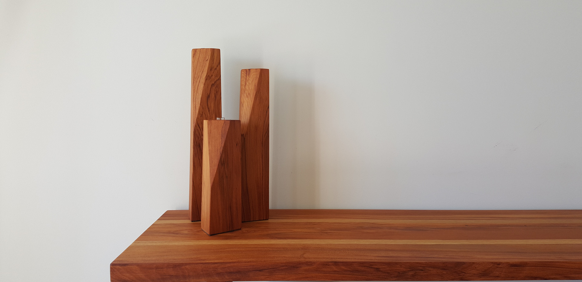 Shard vases on Renee console table