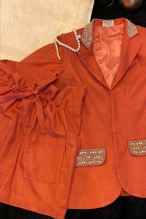 Peach Blazer & Shorts Co-ord Set
