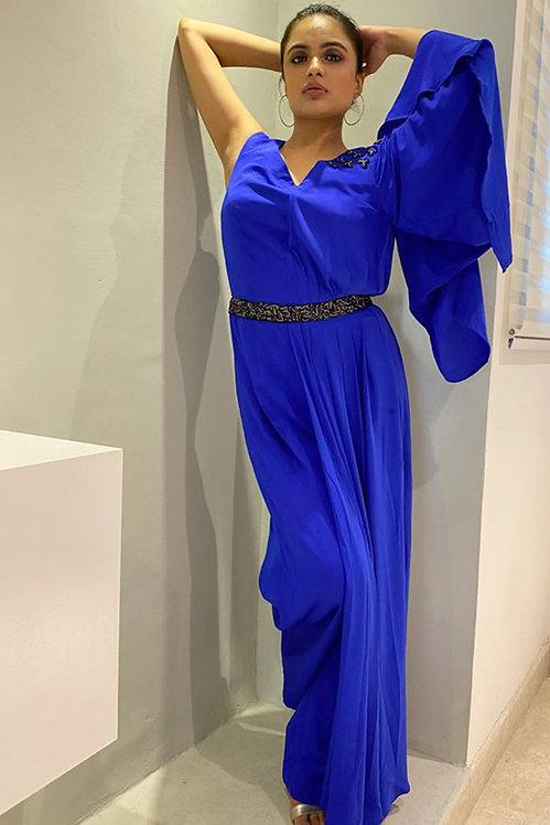 Persian Blue Drape Jumpsuit