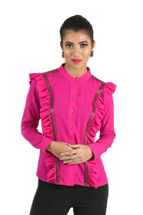 Fuchsia Pink Hand Embroidered Shirt