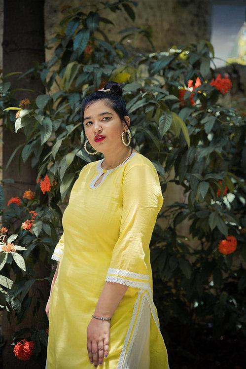 Sunny Yellow Lace Kurta Set