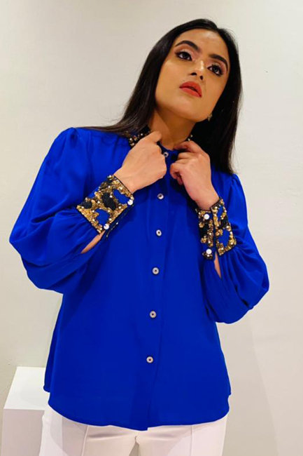 Egyptian Blue Hand Embroidered Shirt