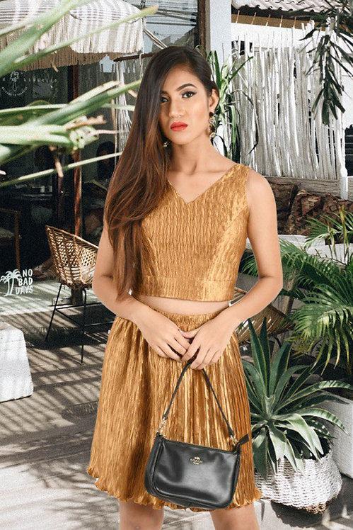 Sophia Gold Crop Top Skirt