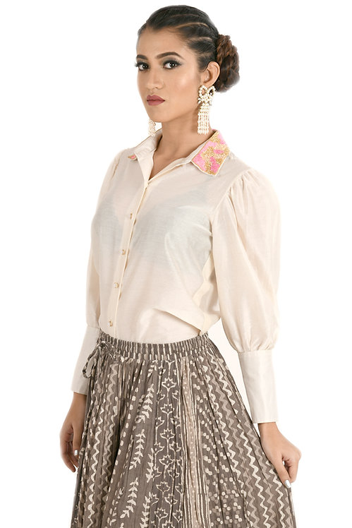 Ivory Hand Embroidered Shirt