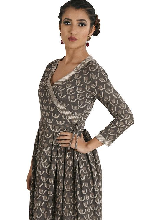 Vintage Grey Angrakha Dress