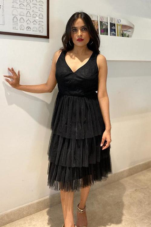 Audrey Black Ruffle Dress