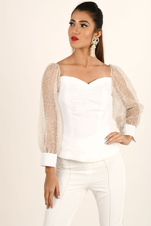 White Off Shoulder Pearl Top