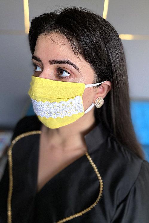 Sunny Yellow Lace mask