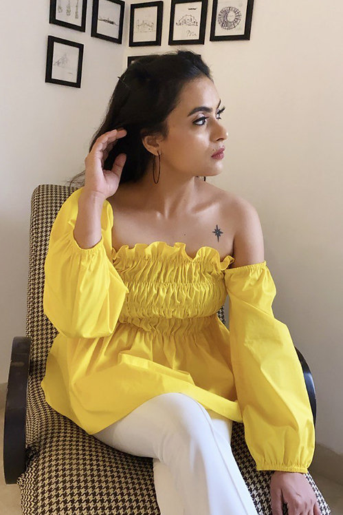 Flaming Yellow Off Shoulder Top